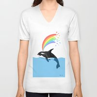 killer whale V-neck T-shirts featuring Killer Whale Blows Rainbow by Noel ILL