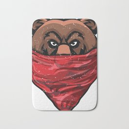Bear, Gangster Bear wearing a Red Bandanna Pullover Bath Mat