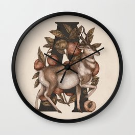 Letter A: Antelope & Apricots Wall Clock