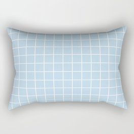 Columbia Blue - heavenly color - White Lines Grid Pattern Rectangular Pillow