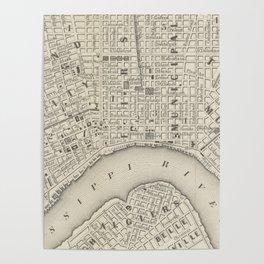Vintage Map of New Orleans LA (1866) Poster