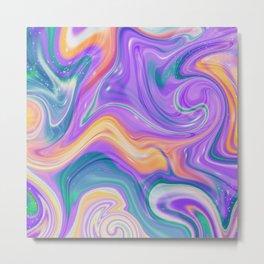 Liquid Abstract Fluid Rainbow Metal Print