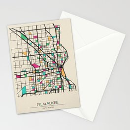 Colorful City Maps: Milwaukee, Wisconsin Stationery Cards