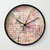 las vegas Wall Clocks featuring Las Vegas by MapMapMaps.Watercolors