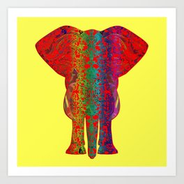 Rainbow Red Elephant -Yellow Bkg Art Print