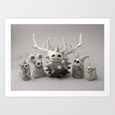 White Monsters Art Print
