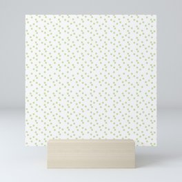 A scattering of pale green squares on white. Mini Art Print