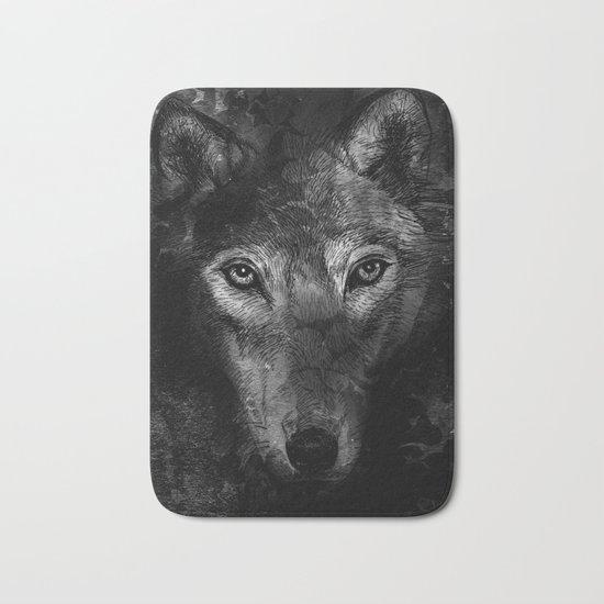 black wolf Bath Mat