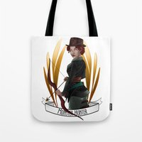 monster hunter Tote Bags featuring Steampunk Occupation Series: Monster Hunter by kortothecore
