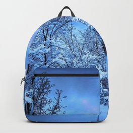 Spectacular Wonderful Snowy Winter Forest Full Moon HD Backpack