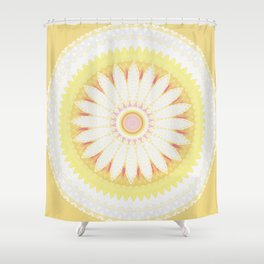 Sunshine Yellow Flower Mandala Abstract Shower Curtain
