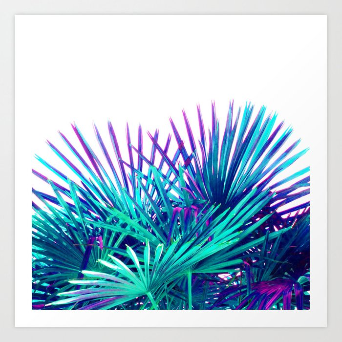 Cool Modern Teal Purple Gradient Artistic Palm Tree