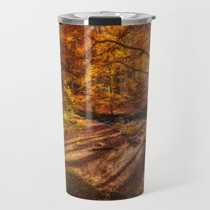 The Golden Autumn Campground (Color) Travel Mug