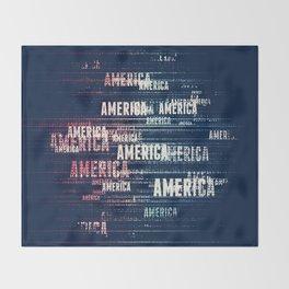 America Typographic Design Throw Blanket