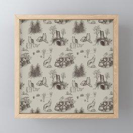 Eurasian Wolf Toile Pattern (Beige and Brown) Framed Mini Art Print