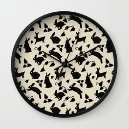 Wild Hare Play in Black Wall Clock