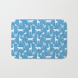 Animal kingdom. White silhouettes of wild animals. African giraffes, leopards, cheetahs. snakes, exotic tropical birds. Tribal primitive ethnic nature blue grunge distressed pattern. Bath Mat