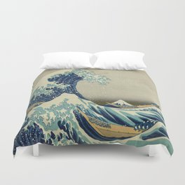 Vintage poster - The Great Wave Off Kanagawa Duvet Cover