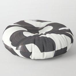 Mid Century Modern Minimalist Abstract Art Brush Strokes Black & White Ink Art Ripple Lines Floor Pillow