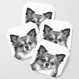 Black and White Chihuahua Coaster