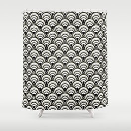 Monochrome and Gold Art Deco Scallops Shower Curtain
