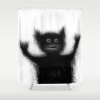 monster Shower Curtains featuring Monster by alliedrawsthings