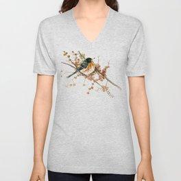 American Robin And Berries, orange bird art Unisex V-Neck