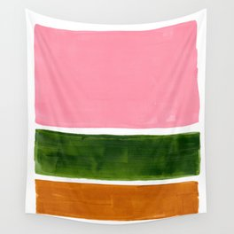Colorful Minimalist Mid Century Modern Shapes Pink Olive Green Yellow Ochre Rothko Minimalist Square Wall Tapestry