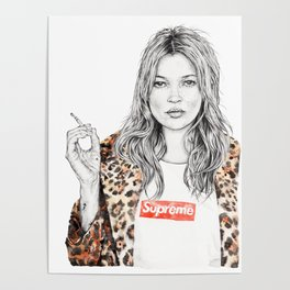 bdb3eeed4139 Kate Moss Supreme Leopard Print Portrait Poster