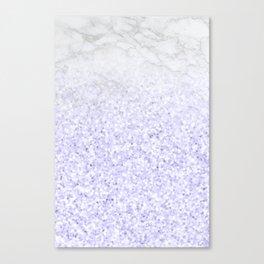 She Sparkles - Pastel Purple Glitter Marble Canvas Print