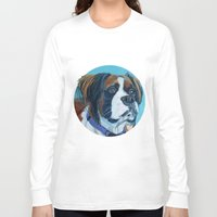 nori Long Sleeve T-shirts featuring Nori the Therapy Boxer by Barking Dog Creations Studio