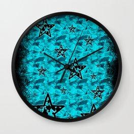Aqua Toxic Stars Wall Clock