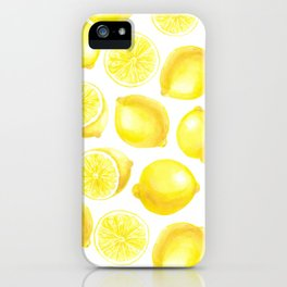Watercolor lemons design iPhone Case