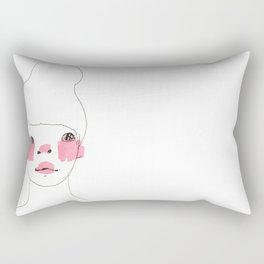 Line Drawing of a Girl in Neon  Rectangular Pillow