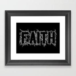 Faith white on black Framed Art Print