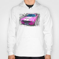 mustang Hoodies featuring Pink Mustang  by Paul Stephenson