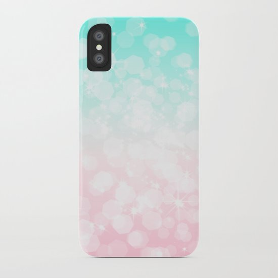 Turquoise and Pink Bokeh iPhone Case