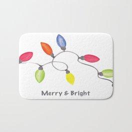 Merry & Bright w/C9 String of Christmas lights on white Bath Mat