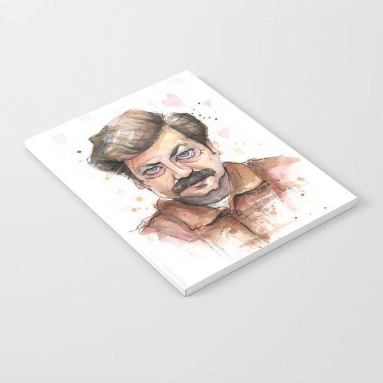 Ron Swanson Love Valentine Portrait Notebook