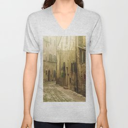 Vintage street in an old Medieval hilltop town in Italy Unisex V-Neck