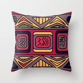 Ethnic background folk african pattern Throw Pillow