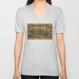 Aerial View of Sacramento, California (circa 1890) Unisex V-Neck