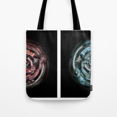 The caterpillar machinery red and cyan brothers Tote Bag