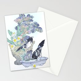 Two Magpies And Flower Bouquet - Antique Japanese Woodcut Print Art - Kono Bairei Stationery Cards