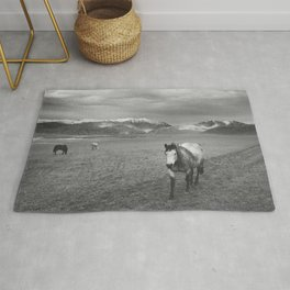 Western Photograph | Rustic Horse and Mountains Rug