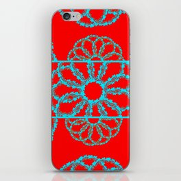 Turquoise & Red Overlapping Scalloped Links & Rings iPhone Skin