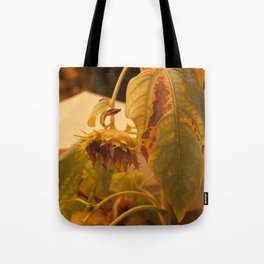The Sun has Set and tomorrow, God willing, it will rise again [SUNFLOWER] [WILTING] [YELLOW SKY]  Tote Bag