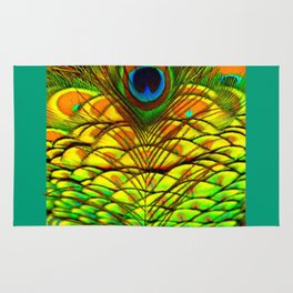 TEAL PEACOCK FEATHERS GOLDEN  DESIGN Rug