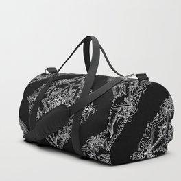 Mandala Doodle Pattern in Black & White Duffle Bag