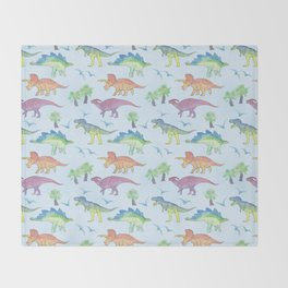 DINOSAURS!, painting by Frank-Joseph Throw Blanket